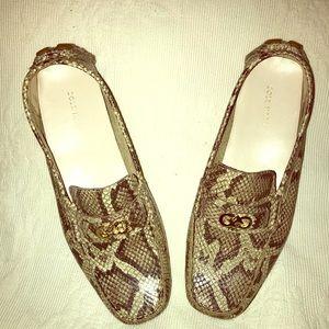 Cole Haan Leather Snake Skin Design Moccasins